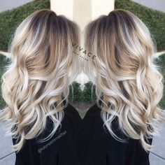 Bright blonde balayage hairstyle