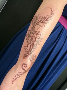 New arm tattoo by Steve Carian, Liquid Tattoo, Lansing, Mi.   Designed to look like a henna tattoo.