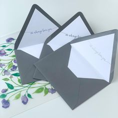 """While this suite had just about everything gorgeous in it, I was struck by their envelope liner. Each was foil stamped (using the softest, prettiest lavender foil) with one line from """"their song"""": it's always been you. Their song would be their first dance at their wedding, but it was special to them before their marriage. So, for guests opening this, it was a beautiful detail, but for them it had added meaning. foil stamping, purple invitation, sweet peas, watercolor florals, envelope… Purple Invitations, Foil Stamped Wedding Invitations, Letterpress Invitations, Watercolor Invitations, Elegant Invitations, Custom Invitations, Wedding Stationery, First Wedding Anniversary Gift, Sweet Peas"""