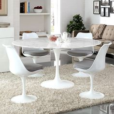 "Lippa 54""or 60"" Round Dining Table-Regular or Marble Top - Modern Wow"