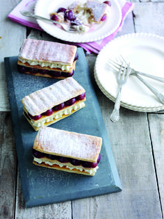 Recipe: Roasted cherry and vanilla mousse millefeuille - Rachel Khoo