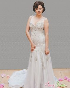 Steven Khalil · Mermaid · Tulle · Silver · Size 6   Savvy Brides