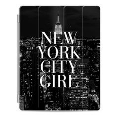 New York City Girl Black and White Manhattan Skyline - iPad Cover /... ($50) ❤ liked on Polyvore featuring accessories, tech accessories, ipad cover / case, apple ipad case, ipad cases, ipad sleeve case, ipad cover case and apple ipad cover case