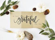 I'm Truly Grateful For You Card – Kraft /Thanksgiving Card, Fall Card, Hand Lettered Card, Love Card / Accordion Fold / Charitable Donation - Thanksgiving Messages Donation Letter Samples, Donation Letter Template, Fathers Day Cards, Valentine Day Cards, Fall Cards, Christmas Cards, Thanksgiving Messages, Thanksgiving Table, Thanksgiving Recipes