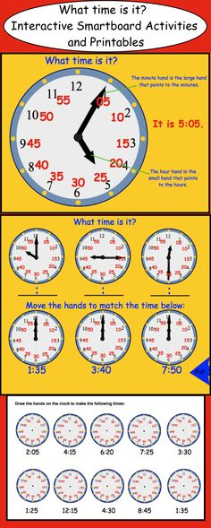 What time is it? Interactive Smartboard Activities and printable worksheets. $