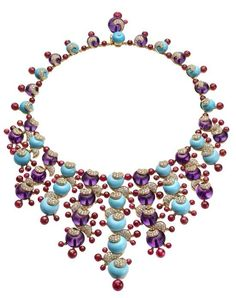 Home 2019 Bulgari High jewelry necklace in yellow gold with 25 amethyst beads 24 turquoise beads 127 spinel beads and pave diamonds. The post Home 2019 appeared first on Jewelry Diy. Bulgari Jewelry, Gemstone Jewelry, Beaded Jewelry, Jewelery, Silver Jewelry, Jewelry Necklaces, Bracelets, Silver Ring, Bvlgari Necklace