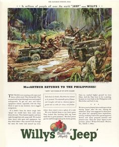 1944 Jeep Willys War Ad Jeep Ad Jeep Commercial Jeep advertisement