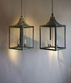 Pair of English copper lanterns circa 1900