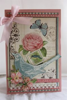 Graphic 45 Botanical Tea paper collection, with stampin Up cardstock for the base card.A bit of fussy cutting from various papers from the same range, and a ribbon bow, lace and kindyglitz to finis…
