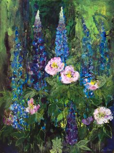 Peonies and Delphiniums - Ann Oram British Elisabeth Frink, Paintings For Sale, Contemporary Artists, Sea Glass, Flower Art, Peonies, Vibrant Colors, Fine Art, Abstract