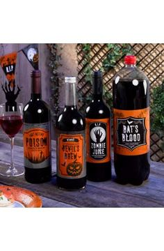 4 Graveyard Gathering Bottle Labels  - Perfect for a Adult or Teenage party matching tableware and decorations available.