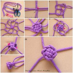 DIY Weave a Macrame Knot - try this with paracord .Weave a macrame knot. I wonder if this could make a button if knotted with threads instead of rope.Creative Ideas and DIY Projects to Inspire Your Daily LifeHow to DIY Three Strand Crystal Shamballa Style Macrame Bracelet Diy, Macrame Jewelry, Diy Gimp Bracelets, Diy Macrame, Micro Macramé, Couture Main, Macrame Projects, Diy Projects, Macrame Tutorial