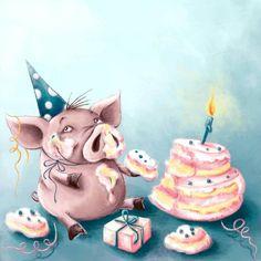 Illustrations by Elina Ellis Happy Birthday Pig, Happy Birthday Images, Birthday Cakes, Birthday Greeting Cards, Birthday Greetings, Birthday Wishes, Birthday Messages, Children's Book Illustration, Illustrations