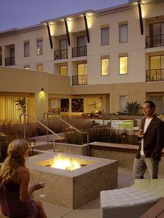 Bonfires at the patio at the Shorebreak Hotel, a Joie de Vivre Hotel, Huntington Beach
