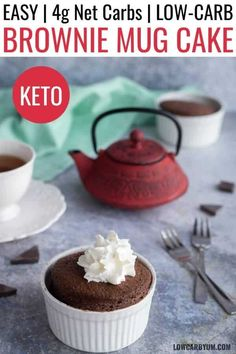 A delicious one minute chocolate brownie mug cake that bakes up in your microwave. Enjoy this simple low carb keto brownie recipe for a quick snack.