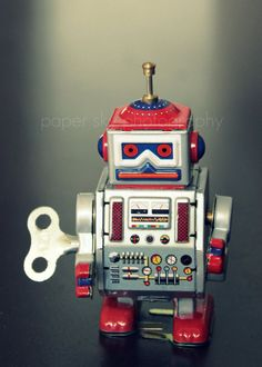 Robot Tin Toy 5 x 7 photograph print. $16.00, via Etsy.