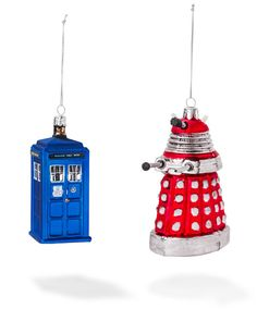 ThinkGeek :: Doctor Who Christmas Ornaments – A Very Whovian Christmas  Complete your geek tree with Doctor Who  Glass TARDIS and red Dalek  Look great next to our TARDIS string lights!