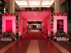 From wedding of your dream events - an event management Wedding Gate, Wedding Reception Entrance, Wedding Hall Decorations, Marriage Decoration, Wedding Mandap, Flower Decorations, Party Wedding, Wedding Ideas, Wedding Receptions