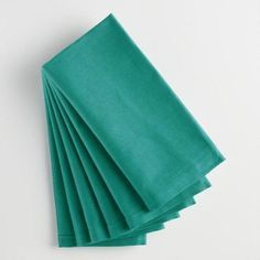 Deep Jungle Teal Buffet Napkins Set of Green - Cotton by World Market - Table Settings Cotton Napkins, Linen Napkins, Cloth Napkins, Napkins Set, Linen Tablecloth, Table Linens, Tablecloths, World Market Table, Teal Table