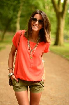 Contrast bright coral with army green to create an eye-catching combo.