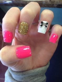 #nails #pink #bow #studs #gold