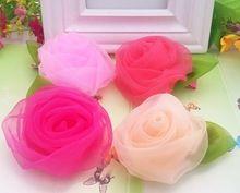 Новый стиль шифон розы заколки дети аксессуары зеленый лист дети волос аксессуары нежный зажим для волос(China (Mainland))