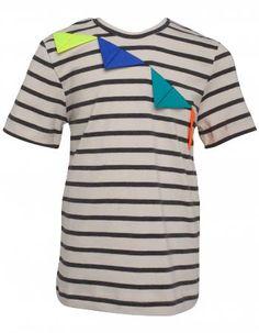 BangBang stribet kortærmet t-shirt med farverige trekanter