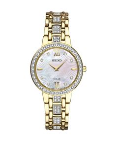 2053cdf0ac3b Seiko Ladies Gold-Tone Mother of Pearl Dial with Swarovski Crystals in  Stainless Steel