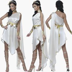 White Greek Goddess Cosplay costumes Cute Roman Princess Costume Athena Costume Halloween for Women Funny Dress Greek Goddess Dress, Greek Goddess Costume, Greece Goddess, Indian Goddess, Halloween Party Kostüm, Costume Halloween, Toga Party Costume, Party Dress, Cleopatra Dress