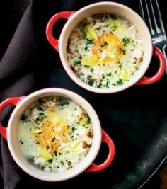 Smoked mackerel constrasts with the light flavor of celery in these inspired baked eggs.