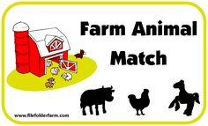 Farm Animal Matching file folder game