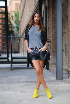 Neon boots, grey shirt and leather