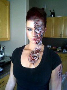 Beauty and the terminator?  Lol Halloween makeup Pretty Little Devil Makeup Artistry ©