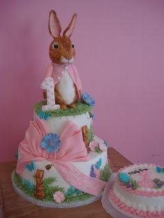 my daughters first birthday cake! Sweet Birthday Cake, First Birthday Cakes, Birthday Ideas, Beatrix Potter Birthday Party, Anna Cake, Peter Rabbit Party, Bunny Party, Bakery Cakes, Cake Art