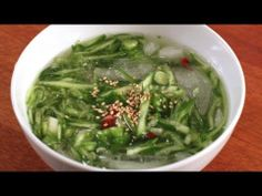 Cold cucumber soup side dish / 오이 냉국 / Oi naengguk (or oi naeng guk, oyi naeng-guk, oi naeng-guk, oyi naengguk, oinaengguk)