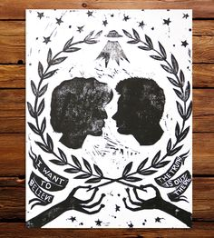 Mulder & Scully Cameo Block Print | Celebrate your inner believer with this fun and funky X-Files ... | Posters