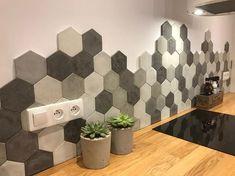 a gray mix concrete hexagon tiles Mix Concrete, Concrete Tiles, Geometric Tiles, Hexagon Tiles, Hexagon Backsplash, Kitchen Backsplash, Backsplash Ideas, Kitchen Cabinets, Home Design