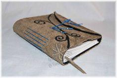 Tee Thompson Studio: Tan Leather Journal - Felt Lined with Original Art