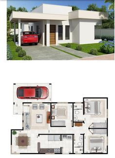 casas pequeas 18 Small House Designs with Floor Plans - House And Decors My House Plans, House Layout Plans, Modern House Plans, House Layouts, Small House Plans, Minimalist House Design, Small House Design, Minimalist Home, Modern House Design