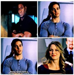 "Kara and Mon-El training makes me happy. I love how they both clearly enjoy the adrenaline buzz, and how he hams it up to make her laugh once he figures out he can. |TV Shows||CW||#Supergirl funny||2x10||""We Can Be Heroes""