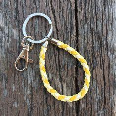 $6.9usd Handmade chamois knitting keychain with standard keyring and swivel clasp in yellow. #keychain #handmade #crafts #diy #keyring