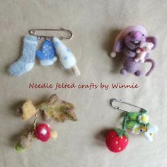 Needle felted handmade brooches Strawberry and by FunFeltByWinnie