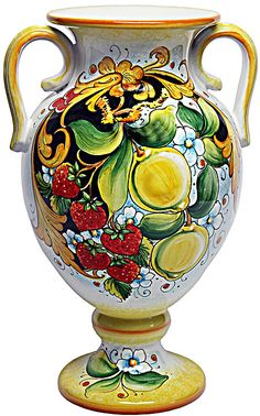 """-Deruta Ceramic Handcrafted Vase in the """"Limoni e Fragole style"""" (lemons & strawberries) Hand Painted Ceramics, Porcelain Ceramics, Ceramic Vase, Ceramic Pottery, Pottery Art, Painted Vases, Pottery World, Italian Pottery, Tuscan Decorating"""