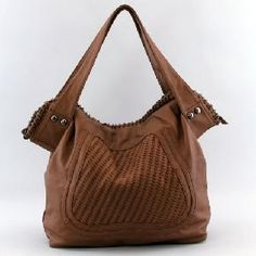 Brown Fashion Handbag w/ Woven Trim