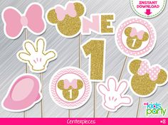 INSTANT DOWNLOAD Pink and Gold Minnie Mouse Centerpieces First Birthday Print yourself, Pink and Gold Minnie Party Printables DIY