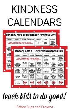 Random Acts of Christmas Kindness Advent Calendar | Coffee Cups and Crayons