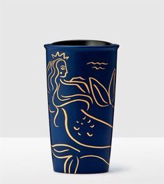 Double Wall TRAVEL TUMBLER *NEW STARBUCKS Dk Blue Embossed Mermaid Scales