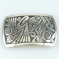 Hopi Overlay Buckle by Phil Poseyesva - Garland's Indian Jewelry. $450