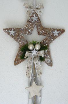 Sisalstern Jutestern natur/creme/silber Türkranz Weihnachten Sisal-Stern