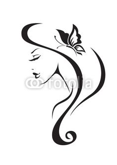 Vector: Black and white silhouette of the girl on Fotolia